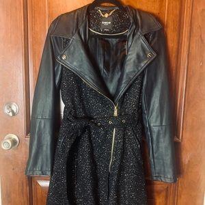 Black BEBE trench coat, sz S